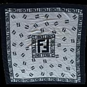 Vintage Black and White Silk Fendi Logo Scarf