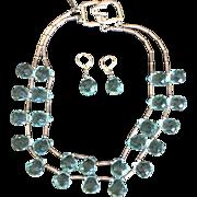 Vintage Kenneth Lane Aqua Cut Crystal Teardrop 2 Strand Necklace and Earrings