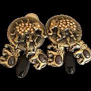 Vintage Mary Demarco Clip on Elephant Earrings