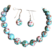 Vintage Turquoise Blue Floral Cloisonne Bead Choker and Pierced Earrings