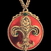 Vintage Weiss Signed Fleur de Lis Enamel and Rhinestone Necklace