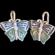 Vintage Carolee Two Toned Blue Enameled Butterfly Earrings