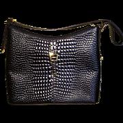 Vintage  Embossed Alligator Etienne Aigner Brown Leather Handbag