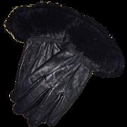 Vintage Black Rabbit Trimmed Leather Gloves