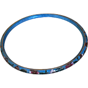 Vintage Turquoise Blue Cloisonne Bangle Bracelet