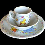 Vintage 3 Piece Porcelain Sesame Street Childrens Dish Set