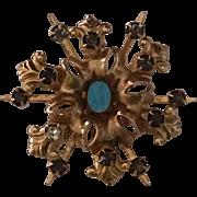 Vintage Brooch Blue Enamel Miraculous Medal with Rhinestones Virgin Mary