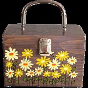 Vintage Caro Nan Wood Handbag Yellow Daisies and Bees