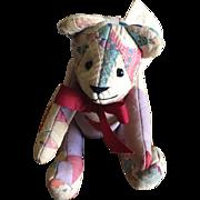 Vintage Handmade Patchwork Quilt Teddy Bear