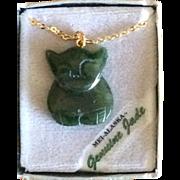 Vintage Genuine Mei Alaskan Jade Cat Pendent