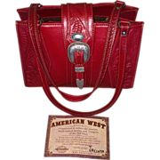 SOLD Vintage Never Used Red Hand Tooled American West Handbag - Red Tag Sale Item