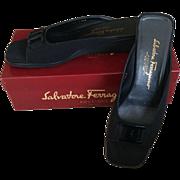 Salvatore Ferragamo Vintage Ladies Open Toe Black Fabric Sandal Size 9 1/2 AAA