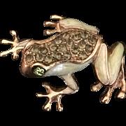 Vintage Liz Claiborne Green Enamel and Rhinestone Frog Pin