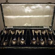 SOLD Vintage Boxed Set of Newbridge Of Ireland Demitasse Spoons with Sugar Tongs - Red Tag Sal