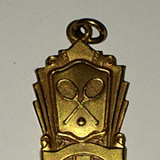 Vintage 1949 Gold Plate Tennis Award Charm