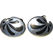 Kai Erling Feiling of Denmark Sterling Silver and Inlay Cuff Links