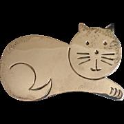 Vintage Sterling Silver Cat Broach