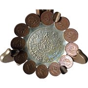 Vintage Hand Crafted Aztec Calendar and Mexican Peso Ashtray