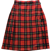 Vintage Scottish Plaid Wool Kilt Made in Great Britain