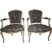 Pair of Louis XV style fauteuils/armchairs