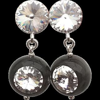 Sterling silver black Polaris Swarovski crystal earrings