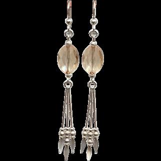 Aurelia - Sterling Silver Golden Shadow Swarovski Crystal Earrings
