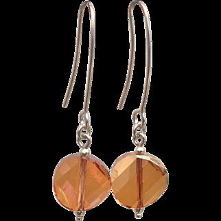 Sterling silver copper Swarovski crystal earrings
