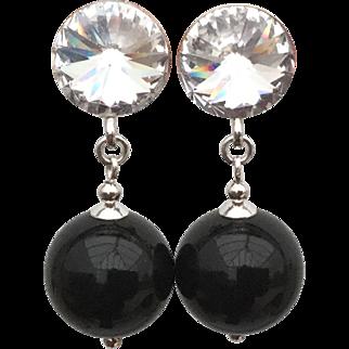 Sterling silver black Swarovski imitation pearl drop earrings