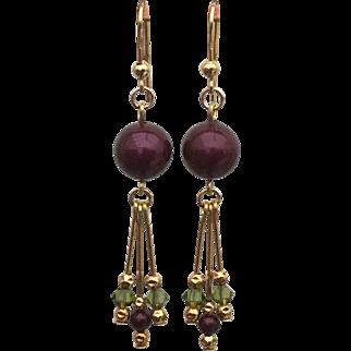 Mira - Blackberry Swarovski Imitation Pearl Gold Vermeil Earrings.