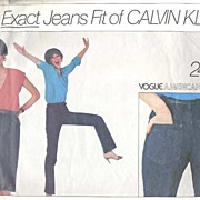 """SOLD Vogue American #2442 Calvin Klein EXACT Jeans Fit Pattern!~Size 12/Waist 29""""~Complet"""