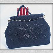 SOLD Breathtaking Black 1930s Glass Beaded Ornate Handbag~Made in Hong Kong