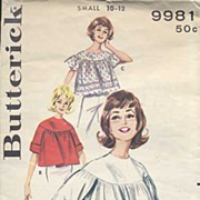 SOLD Butterick #9981 GIDGET-Style '60s Angel Blouse~Size S (10-12), 1960~As Is *No Directions*