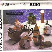 SOLD McCall's #8134 Adorable Hugachums Christmas Package~Santa, Mrs. Claus, Elf, Snowman & Rei