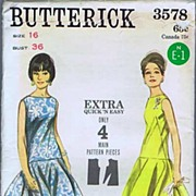"""SOLD Butterick #3578 Saucy Cha-Cha Style Cocktail Dress~Size 16/Bust 36""""~UNCUT FF, 1964"""