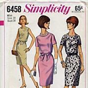 "SOLD Simplicity #6458 Sophisticated Blouson Dress Pattern-Size 18/38"" Bust-UNCUT, 1966"