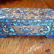 SOLD Vintage Chinese Canton Enamel Stamp Box