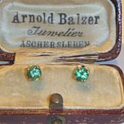 SOLD Vintage 14 K  Gold & Emerald Earrings