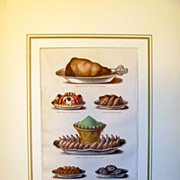 SALE Antique Chromolithograph of  Food