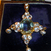 SOLD Antique 15 K Gold & Green Amethyst and White Topaz Pendant