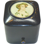 SALE PENDING Vintage English Celluloid Portrait Ring Box