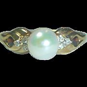 Vintage 14K Pearl Diamond and Garnet Ring
