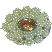 Antique Seed Pearl & Citrine Pin