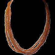 SALE Vintage 5 Strand Natural Coral Necklace