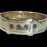 Vintage 9K & Garnet Buckle Ring