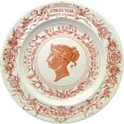 SALE 1887 Royal Worcester Golden Jubilee Plate for Queen Victoria