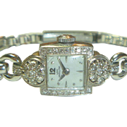 SALE Vintage 14 K White Gold & Diamonds Lady Hamilton Watch