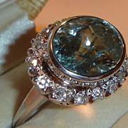 SOLD Vintage Art Deco Aquamarine Diamond & Platinum Ring