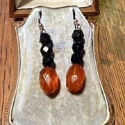SOLD Antique Victorian Jet & Amber Earrings