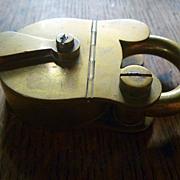SOLD Antique Brass Padlock Stamp Box