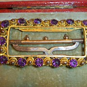 Antique Cannetille & Amethyst Paste Buckle